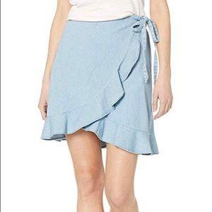 J.Crew Factory: Chambray faux-wrap mini skirt // M